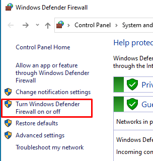 The button to open Windows Defender Firewall settings
