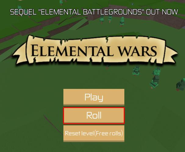 Elemental Wars Roll button