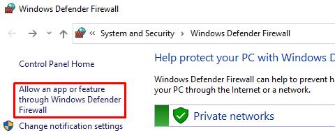 The allow an app or feature through Windows Defender Firewall button