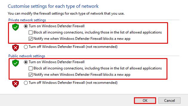 Reenabling Windows Defender firewall