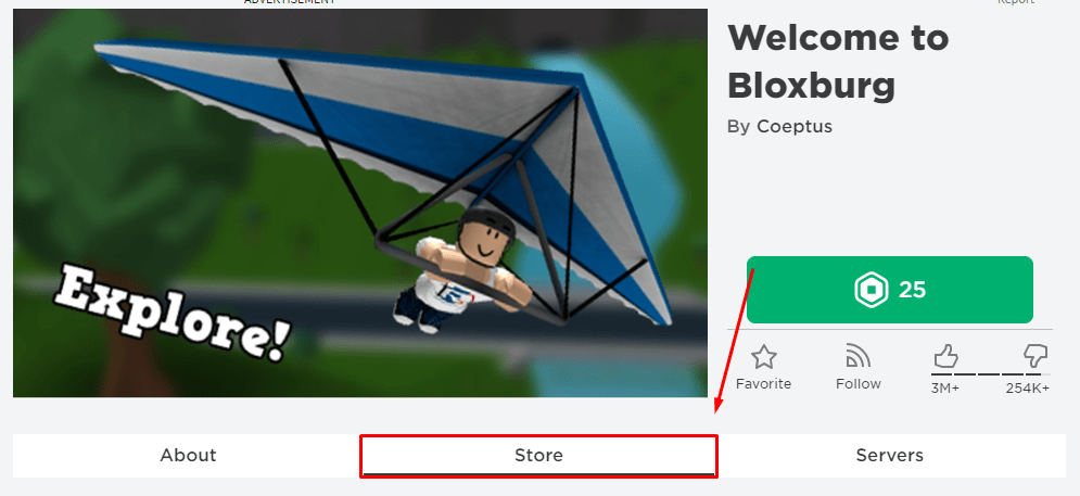 Highlighted is the store button to purchase Game Passes for a Roblox game