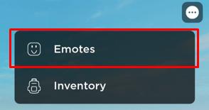 Roblox emotes menu button